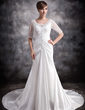A-Line/Princess V-neck Chapel Train Taffeta Wedding Dress With Ruffle Lace Beading (002012919)