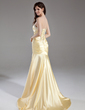 Trumpet/Mermaid Sweetheart Sweep Train Charmeuse Prom Dress With Ruffle Beading Sequins (018004958)