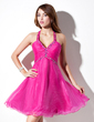 A-Line/Princess Halter Knee-Length Organza Homecoming Dress With Ruffle Beading (022021045)
