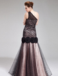 Trumpet/Mermaid One-Shoulder Floor-Length Charmeuse Tulle Evening Dress With Flower(s) (017019558)