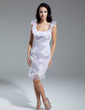Sheath/Column Scoop Neck Knee-Length Organza Cocktail Dress With Appliques Lace Cascading Ruffles (016014928)