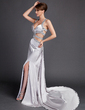 Sheath/Column Watteau Train Charmeuse Prom Dress With Beading Split Front (018015889)