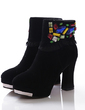 Real Leather Chunky Heel Platform Ankle Boots With Rhinestone shoes (088057057)