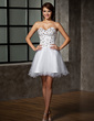 A-Line/Princess Sweetheart Short/Mini Tulle Homecoming Dress With Beading Sequins (022010776)
