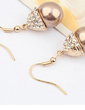 Elegant Alloy/Pearl/Gold Plated Ladies' Earrings (011037047)