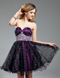 A-Line/Princess Sweetheart Short/Mini Charmeuse Tulle Homecoming Dress With Ruffle Beading (022019586)