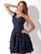 A-Line/Princess One-Shoulder Short/Mini Taffeta Homecoming Dress With Ruffle (022011401)