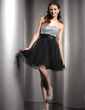 Empire Sweetheart Short/Mini Charmeuse Tulle Homecoming Dress With Beading (022020891)