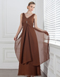 Empire V-neck Ankle-Length Chiffon Bridesmaid Dress With Beading Cascading Ruffles (007001778)