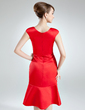 Trumpet/Mermaid Scoop Neck Knee-Length Satin Mother of the Bride Dress (008006526)