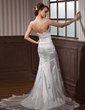 Trumpet/Mermaid Strapless Court Train Charmeuse Tulle Wedding Dress With Ruffle Appliques Lace Crystal Brooch (002012589)