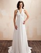 Empire V-neck Watteau Train Chiffon Wedding Dress With Ruffle (002012664)