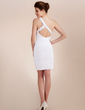 Sheath/Column One-Shoulder Short/Mini Chiffon Cocktail Dress With Ruffle Beading Appliques Lace (016020742)
