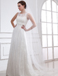 A-Line/Princess Scoop Neck Sweep Train Satin Tulle Wedding Dress With Lace Beading (002004543)