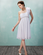 Empire One-Shoulder Knee-Length Chiffon Homecoming Dress With Ruffle Beading Flower(s) (022009974)