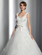 Ball-Gown Sweetheart Chapel Train Tulle Wedding Dress With Lace Flower(s) Bow(s) (002014781)
