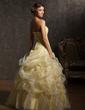Balo Elbisesi Kalp Kesimli Uzun Etekli Organza Quinceanera (15 Yaş) Elbisesi Ile Büzgü Boncuk (021002877)