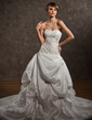 Ball-Gown Sweetheart Chapel Train Taffeta Wedding Dress With Embroidered Ruffle Beading (002000491)