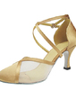 Women's Satin Heels Pumps Modern Ballroom With Ankle Strap Dance Shoes (053013209)
