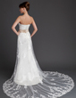 Trumpet/Mermaid Strapless Court Train Tulle Wedding Dress With Lace Sash Crystal Brooch Sequins (002011998)