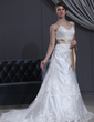 A-Line/Princess V-neck Chapel Train Tulle Wedding Dress With Lace Sash Beading Bow(s) (002000145)