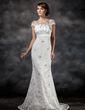 Trumpet/Mermaid Scalloped Neck Sweep Train Charmeuse Lace Wedding Dress With Ruffle Beading Sequins (002022561)