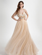 A-Line/Princess V-neck Floor-Length Tulle Prom Dress With Ruffle Beading (018015818)