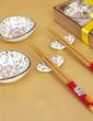 Floral Design Ceramic/Bamboo Cutlery set (051039212)