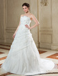 Ball-Gown Scalloped Neck Court Train Organza Wedding Dress With Ruffle Beading Appliques Lace Sequins Bow(s) (002012773)