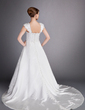 A-Line/Princess Chapel Train Satin Wedding Dress With Lace Beading (002012714)
