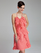 A-Line/Princess Halter Knee-Length Chiffon Homecoming Dress With Cascading Ruffles (022019637)