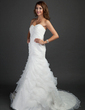Trumpet/Mermaid Sweetheart Court Train Satin Organza Wedding Dress With Cascading Ruffles (002000619)