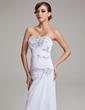 Forme Princesse Sans bretelle alayage/Pinceau train Mousseline Robe de mariée avec Plissé Motifs appliqués Dentelle (002004166)