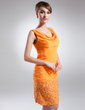 Sheath/Column Cowl Neck Knee-Length Chiffon Mother of the Bride Dress With Ruffle Appliques Lace Sequins (008015866)