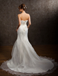 Empire Scalloped Neck Chapel Train Satin Organza Wedding Dress With Ruffle Lace Beading (002001323)