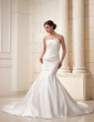 Trumpet/Mermaid Strapless Cathedral Train Satin Wedding Dress With Ruffle (002019527)