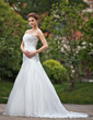 A-Line/Princess Strapless Chapel Train Taffeta Wedding Dress With Ruffle Beading Appliques Lace (002001356)