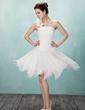 Çan/Prenses Tek-Omuzlu Diz Hizası Tulle Mezunlar Gecesi Elbisesi Ile Büzgü Çiçek(ler) (022009033)