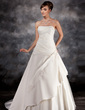 Ball-Gown Strapless Court Train Charmeuse Tulle Wedding Dress With Ruffle Beading Appliques Lace (002016944)