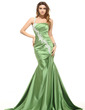 Trumpet/Mermaid One-Shoulder Sweep Train Satin Evening Dress With Ruffle Appliques Lace (017016050)