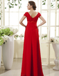 Empire V-neck Floor-Length Chiffon Mother of the Bride Dress With Ruffle Crystal Brooch (008015435)
