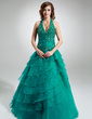 Ball-Gown Halter Floor-Length Organza Quinceanera Dress With Ruffle Beading Appliques Lace Cascading Ruffles (021016403)