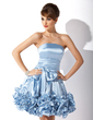 A-Line/Princess Strapless Knee-Length Charmeuse Homecoming Dress With Ruffle Bow(s) (022008960)