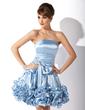Çan/Prenses Askısız Diz Hizası Charmeuse Mezunlar Gecesi Elbisesi (022008960)