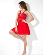 A-Line/Princess V-neck Short/Mini Chiffon Homecoming Dress With Ruffle Beading (022004397)