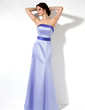 A-Line/Princess Strapless Floor-Length Satin Bridesmaid Dress With Sash (007001781)