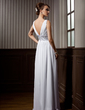 A-Line/Princess V-neck Floor-Length Chiffon Bridesmaid Dress With Ruffle Beading (007000910)