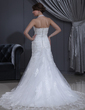 Trumpet/Mermaid Halter Chapel Train Tulle Wedding Dress With Ruffle Lace (002000412)