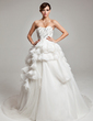 Ball-Gown Sweetheart Court Train Organza Lace Wedding Dress With Lace Beading Cascading Ruffles (002017558)