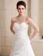 A-Line/Princess Sweetheart Chapel Train Satin Wedding Dress With Ruffle Beading (002000686)
